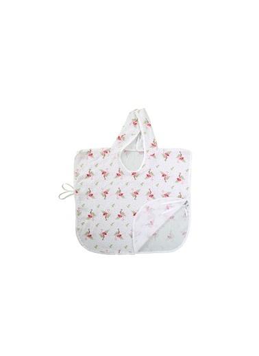 Lunanino Müslin Kapşonlu Bebek Pançosu Flamingo Beyaz